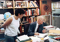 Marilyn Monda with W. Edwards Deming in his Washington DC office, 1990